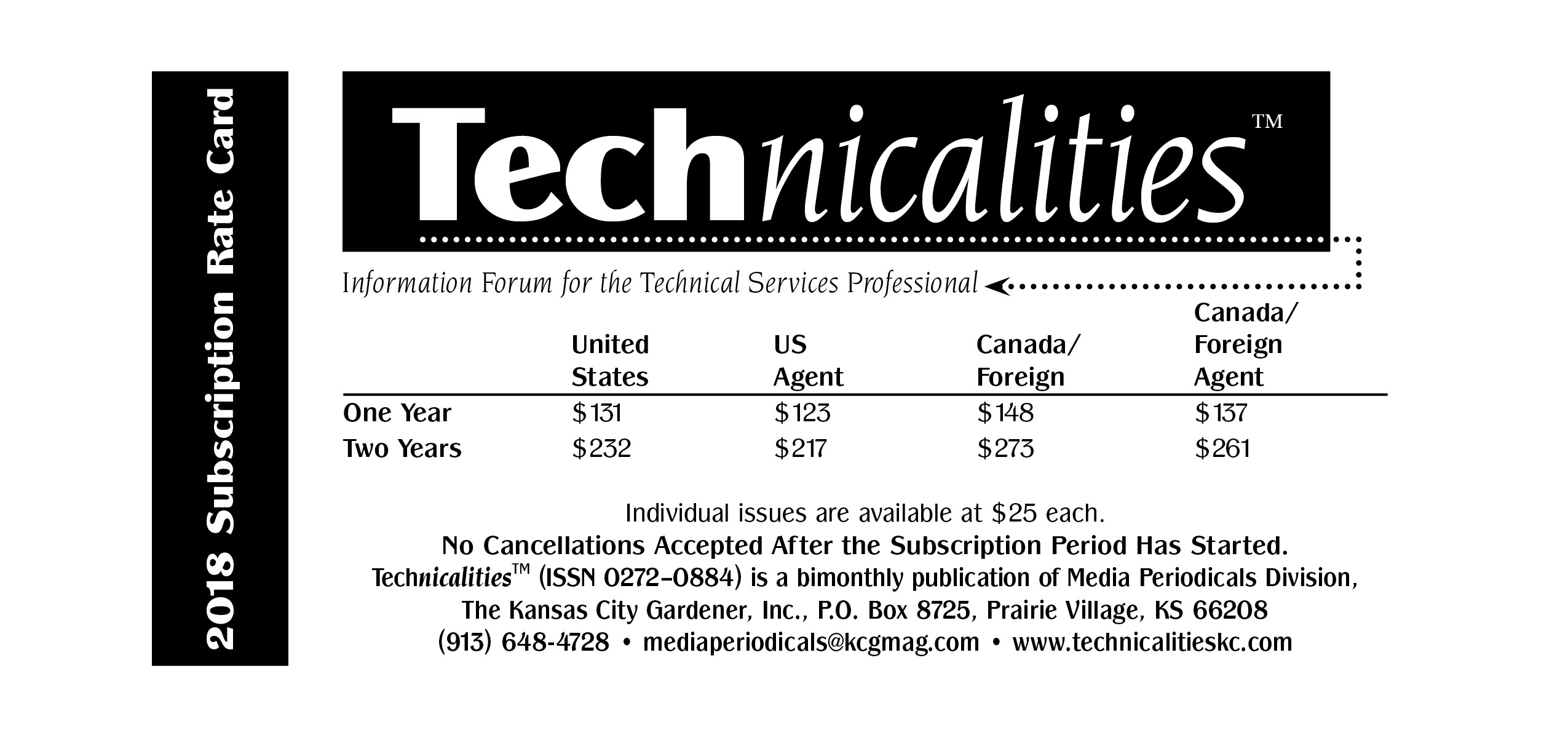 Tech 2018 rate card single